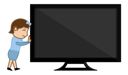 business cartoons: Es hora de comprar un nuevo TV - Dibujos animados de negocios Vectores Vectores