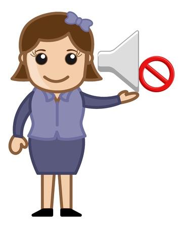 contaminacion acustica: Que indica la muestra de Ban Noise - Dibujos animados de negocios Vectores Vectores