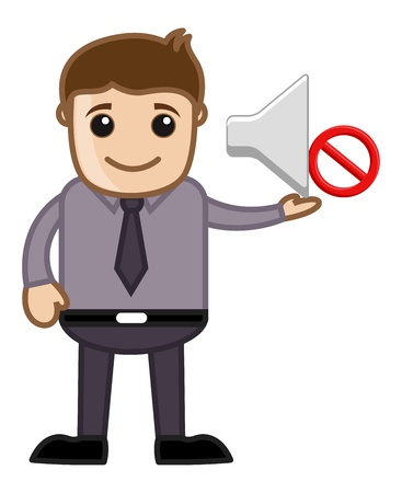 No Noise Please - Business Cartoons Vectors