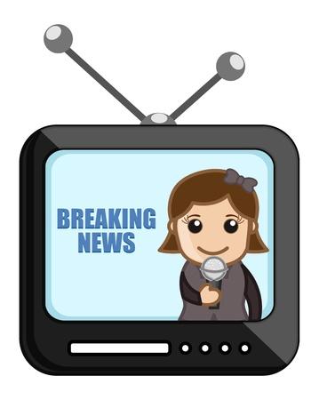 business cartoons: Noticias Reportero Durante TV - Dibujos animados de negocios Vectores