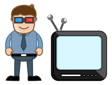 3D Smart TV - Business Cartoons Vectors Stock Vector - 21313987