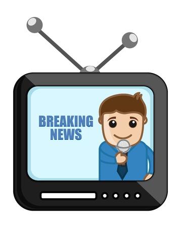business cartoons: Noticias de �ltima hora - Dibujos animados de negocios Vectores