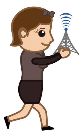 Signals - Business Cartoons Vectors Vector
