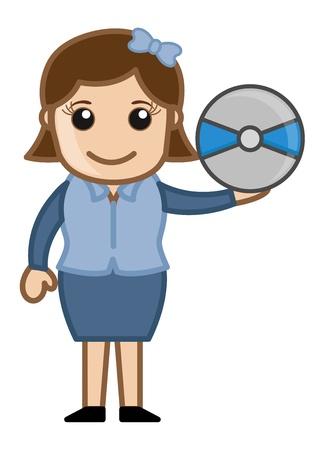 business cartoons: Disco Compacto - Dibujos animados de negocios Vectores
