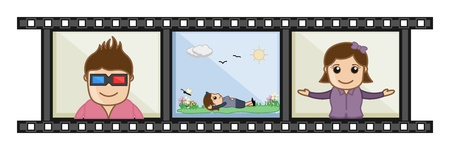 Movie Album Memories - Business Cartoons Vectors Vector