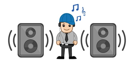 Enjoying Music - Business Cartoons Vectors Vector