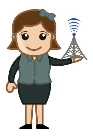 business cartoons: Mostrando Tower Mobile Signal Strength - Dibujos animados de negocios Vectores