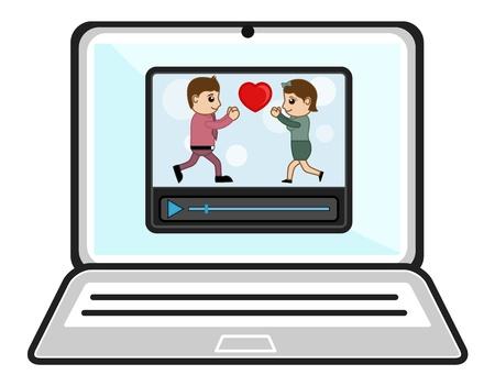business cartoons: Ver v�deos sobre la computadora port�til - Dibujos animados de negocios Vectores