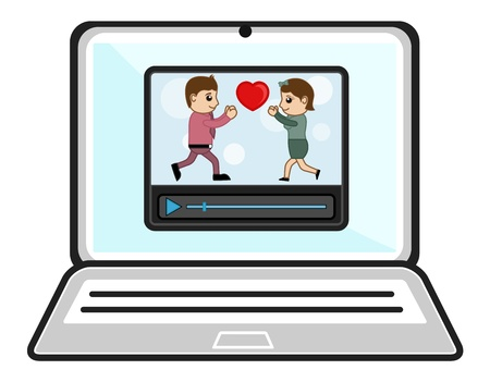 Watching Videos Over Laptop - Business Cartoons Vectors Vector