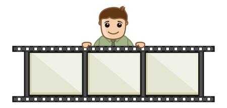 business cartoons: Edici�n de Video - Dibujos animados de negocios Vectores Vectores