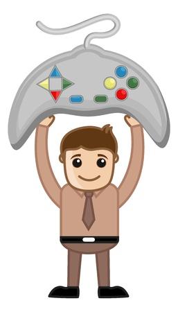 business cartoons: Gaming - Dibujos animados de negocios Vectores