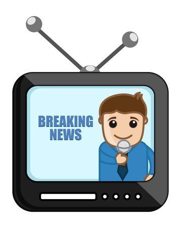 business cartoons: Reportero de TV - News Concept - Business Cartoons Vectores