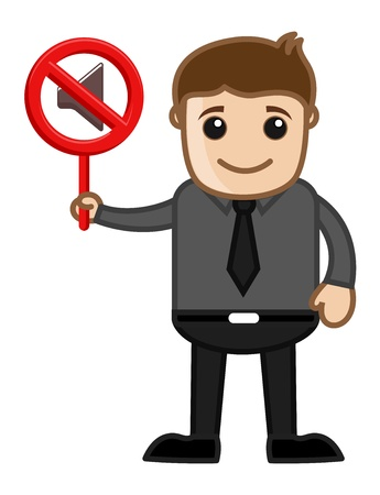 No Sound - Mute Concept - Business Cartoons Vector