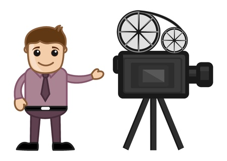 business cartoons: Cameraman - Opci�n de la carrera - Business Cartoons