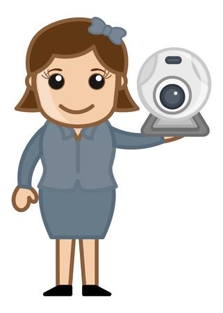 business cartoons: Web Cam - Seguridad y Video Chat Concept - Business Cartoons