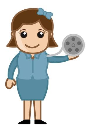 business cartoons: Carrete de la pel�cula - Business Cartoons Vectores