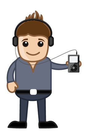 Listening Music Via MP3 Player - Business Cartoons Vector