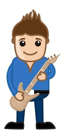 business cartoons: Tocar la guitarra - Business Cartoons