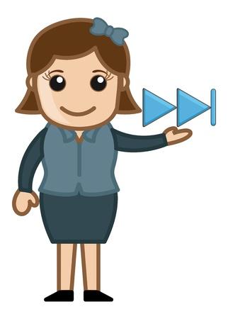 business cartoons: Next Media Button - Business Cartoons Vectores
