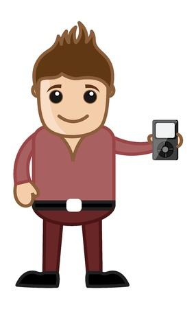 business cartoons: El lanzamiento de nuevos dispositivos - Business Cartoons