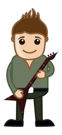 business cartoons: Tocar la guitarra - Dibujos animados de negocios Car�cter