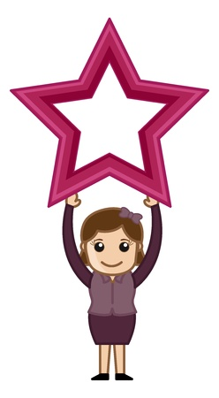 Woman Holding Star - Business Cartoons Character Vector