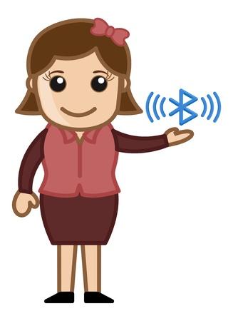 Bluetooth Concept - Business Cartoons Character Vector