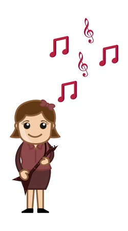 Playing Music - Business Cartoons Character Vector