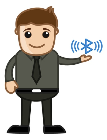 Bluetooth - Business Cartoons Character Vector