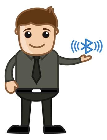 business cartoons: Bluetooth - Dibujos animados de negocios Car�cter Vectores
