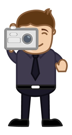 Taking Shot with Digital Camera - Business Cartoons Character Stock Vector - 21311363