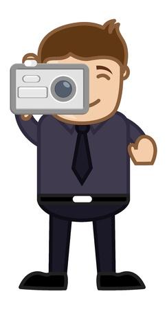 business cartoons: Tomando disparo con c�mara digital - Business Cartoons Car�cter