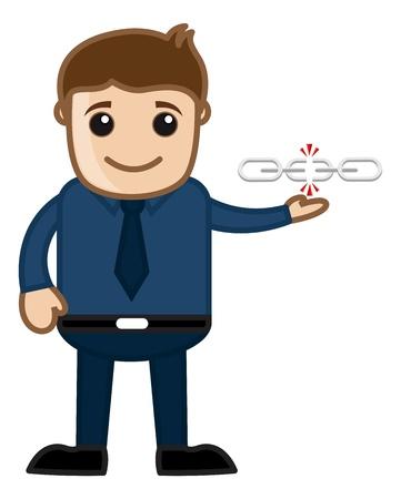 Broken Link - Business Cartoons Vector