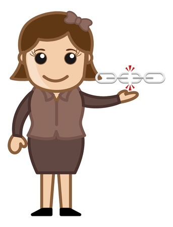 Broken Link - Business Cartoons Vector