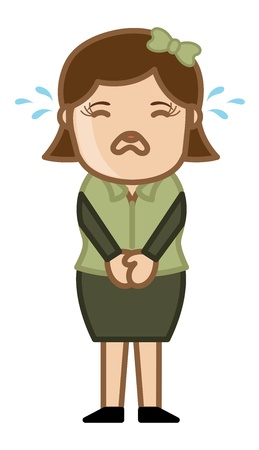 weeping: Crying Female - Business Cartoon Character