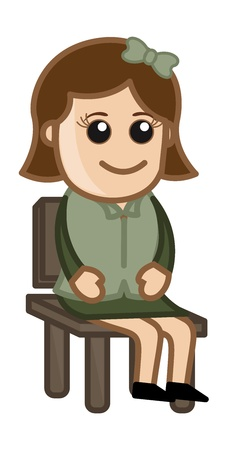 innocent girl: Woman Sitting on Chair - Business Cartoon Character  Illustration