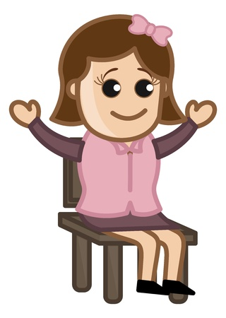 Happy Female Professional Sitting on Chair - Business Cartoon Character  Vector