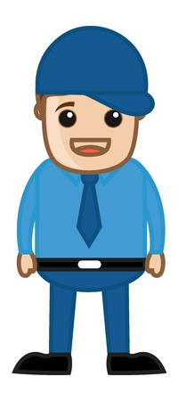 cool man: Cool Man with Cap - Business Cartoon