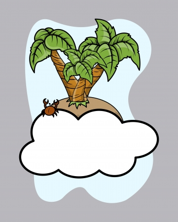 Island Over Cloud - Vector Cartoon Illustration Vector