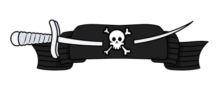 battle evil: Pirate Banner with Sword - Vector Cartoon Illustration