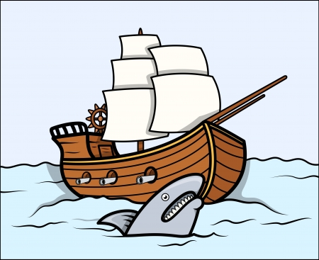 Shark and Old Ship in Sea - Vector Cartoon Illustration Vector