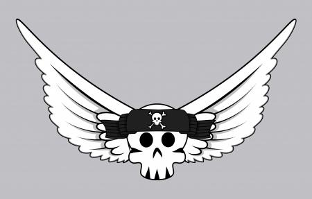 Flying Jolly Roger Skull Vector Vector