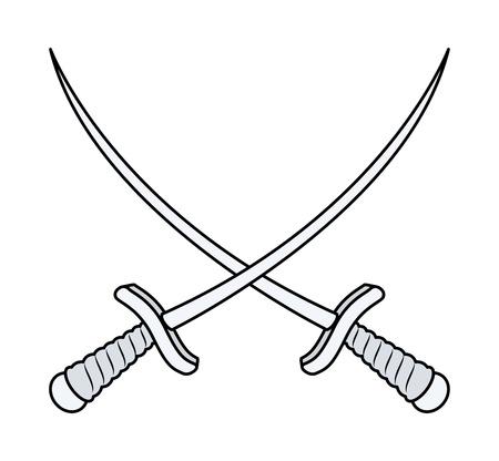 crossed swords: Crossed Swords - Vector ilustraci�n de la historieta