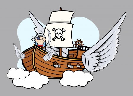 Flying Pirate Ship - Vector Cartoon Illustration Vector