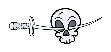 Skull with Sword in Eyes - Vector Cartoon Illustration Stock Vector - 21505308