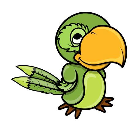 Green Parrot - Vector Cartoon Illustration Stock Vector - 21505311