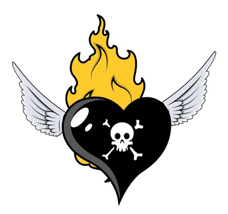Burning and Flying Black Heart - Vector Cartoon Illustration Vector