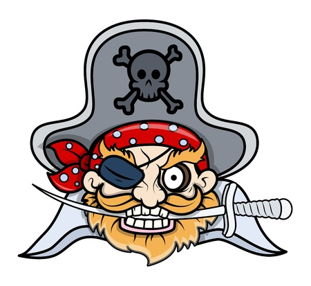 tattoo face: Captain Pirates Tattoo Face