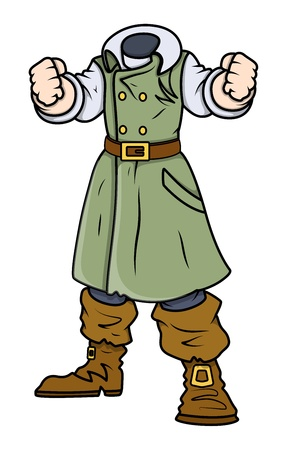 Headless Captain - Vector Cartoon Illustration Vector