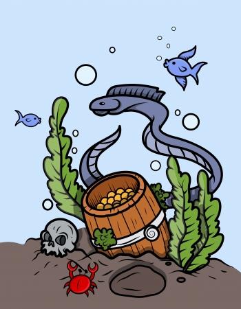 Gold Coin Barrel Under The Sea - Vector Cartoon Illustration Vector